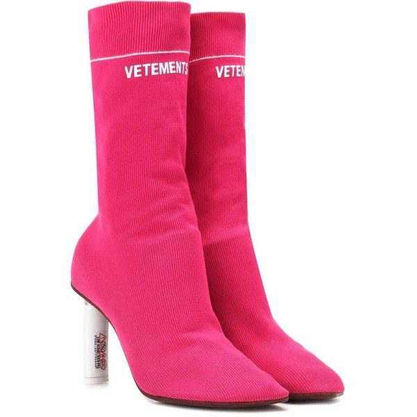 Vetements Lighter-Heel Sock Ankle Boots ($1,425) ❤ liked on Polyvore featuring shoes, boots, ankle booties, pink, sock bootie, pink boots, sock ankle boots, pink booties and vetements boots
