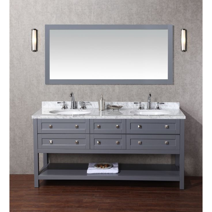 Stufurhome Marla 72 Inch Double Sink Bathroom Vanity With Mirror In Grey  (Bathroom Vanity)