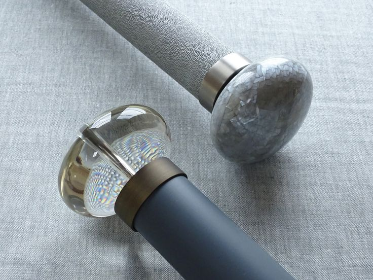 Stunning combo of Acrylic ellipse finial and matt lacquered pole in 'lead' - be bold and use blue!
