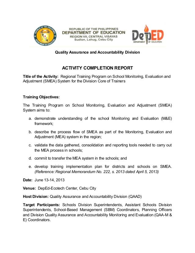 Quality Assurance and Accountability Division ACTIVITY COMPLETION - training report