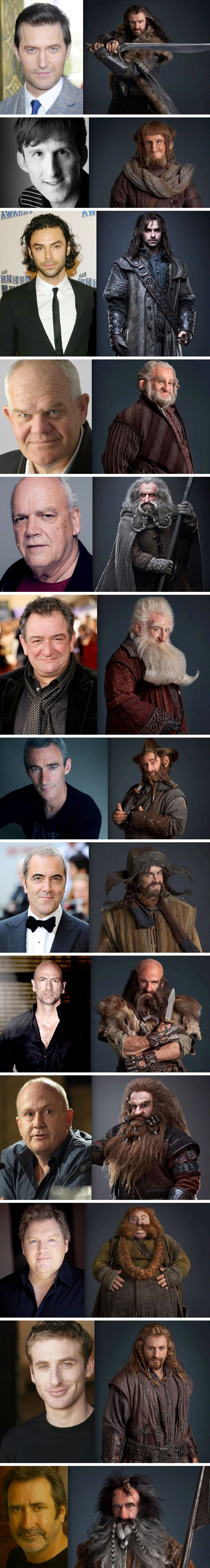The Hobbit dwarves, pre and post make-up. I always knew there was a TON of makeup, but still! It's so weird seeing them like this! Fili and Kili are still the only hot ones, lol ;)