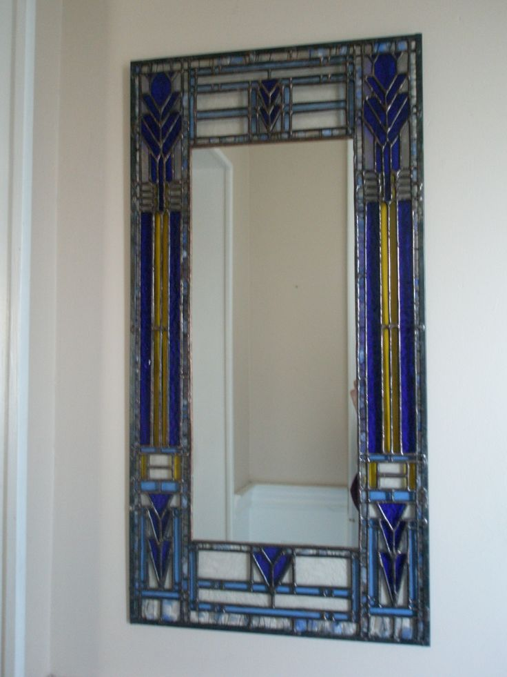 Mirror with stained glass frame inspired by frank lloyd for Glass and mirror