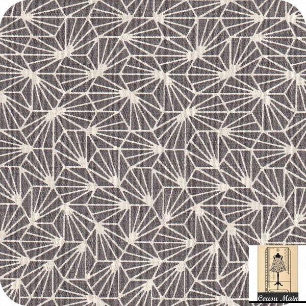 tissu coton imprimé japonais étoiles blanches sur fond gris origami- Tissu…