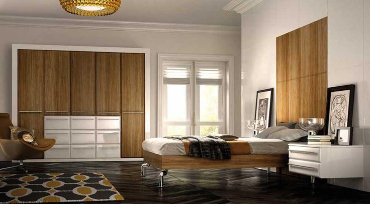 Simple Cupboard Designs for Bedrooms with wooden bed and white wall