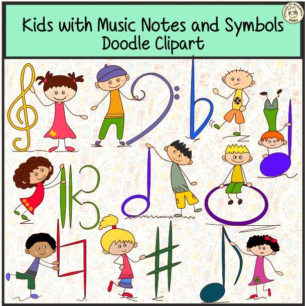 Kids Are Holding Basic Music Symbols Bass Clef Treble Clef Alto Clef Flat Sharp Natural Whole Note Half Note Kids Music Room Music Notes Music For Kids
