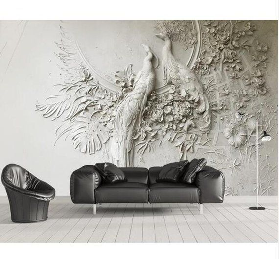 Custom Wallpaper 3D Three-dimensional Embossed Peacock TV Couch Bbackground Wall Living Room Bedroom Mural 3D Wallpaper