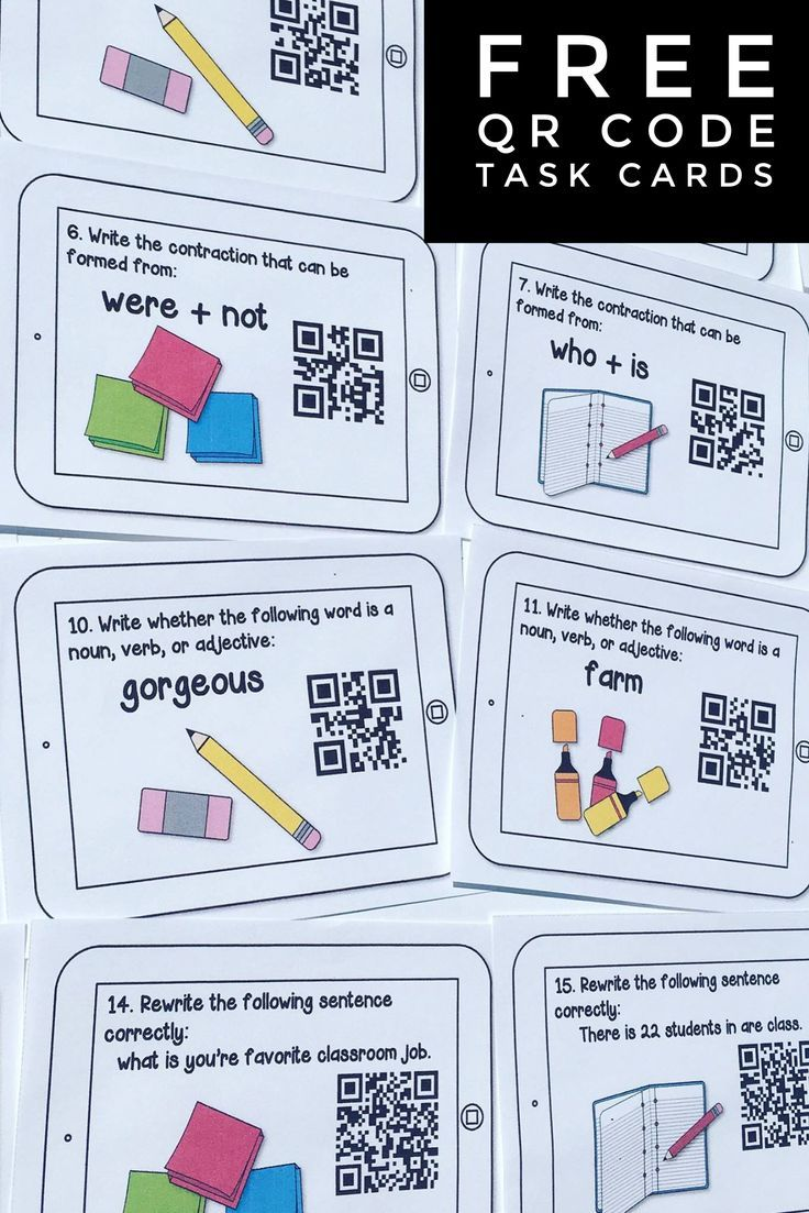 FREE QR code task cards. Students check their work by scanning the QR codes with iPads. Great way to integrate technology in reading and review synonyms, antonyms, contractions, & parts of speech.