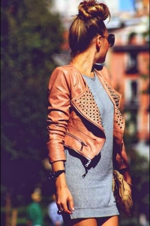 Simple Dress With Short Body Stylish Jacket: Biker Jackets, Sweaters Dresses, Street Style, Studs Jackets, Outfit, Studs Leather, Leather Jackets, Grey Dresses, Cute Jackets