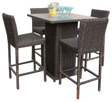 Rustico Pub Table Set With Barstools 5 Piece Outdoor Wicker Patio Furniture - tropical - Outdoor Pub And Bistro Sets - Design Furnishings
