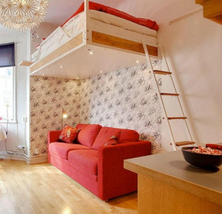 Bedroom, : Cheerful Bedroom Color Theme With Loft Bed And Sofa Under Bed  Also Red