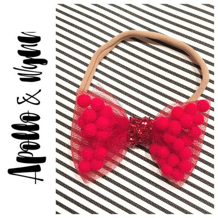Red Pom Pom Hair Bow Headband