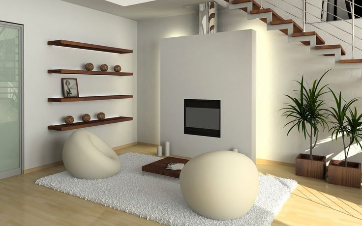 House Design,Admirable Family Room Interior Design With White Wall Paint On Combined Laght Brown Wood Laminate Flooring And Cool Tv Wall Unit Complete With Two White Egg Chair On White Fur Rug Also Nice Brown Hanging Shelf Plus Fresh Green Plant On Modern Japanese Interior Design,Top Choice Minimalist Modern Interior Design For Your Home