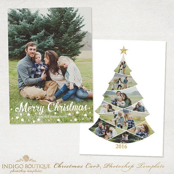 Beautiful Christmas / Holiday Card Template  Make sure you also check out: https://www.etsy.com/shop/IndigoBoutique?section_id=11960963  DETAILS: - 5x7 Photo Card Template - 2 PSD Files - Front and Back designs - Fully layered photoshop PSD files - Easily customize colors - Clipping masks included - Merry Christmas and Happy Holidays have been created as word art and the fonts cannot be altered, you can change colors - Compatible with Photoshop & Photoshop Element - Sized at a standard 5x7…
