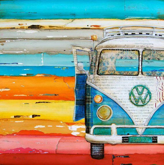 art print vw volkswagen van bus retro vintage beach. Black Bedroom Furniture Sets. Home Design Ideas