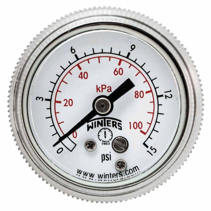 P9S 90 Series 1.5 in. Black Steel Case Pressure Gauge with 1/8 in. NPT Center Back Connect and Range of 0-15 psi/kPa
