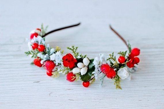 Burgundy flowers handmade faux leather headband