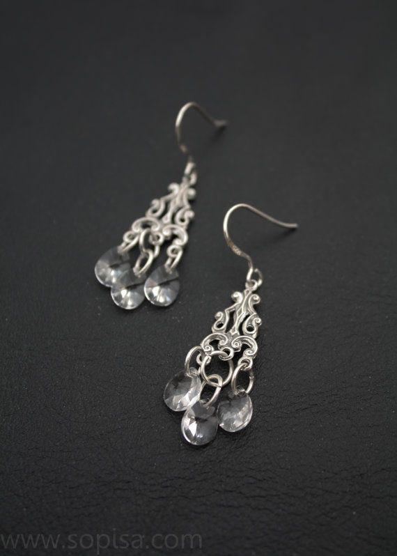 Handmade 925 sterling silver chandelier dangle by SopisaJewelry