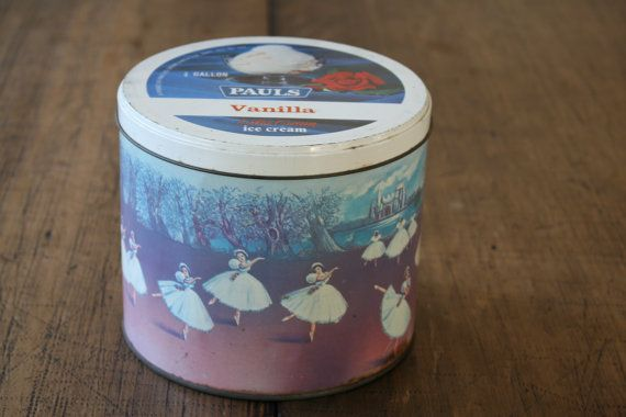 Vintage Ballet Ice Cream Tin Kitchen Canister by FoundByHer