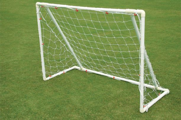 "Soccer Goal Post - Superia:  Superia goal post features goal size adjustment up to 9 different sizes, without taking out the 'SEP' tubes. It is the most flexible goal post. Made of 1.5"" heavy 'SEP' tube with plastic elbows for all corners. It can be assembled very easily within a few minutes. Includes net and anchors to hold the goal on ground."