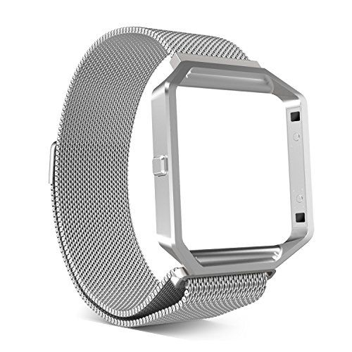 MoKo Accessories Band for Fitbit Blaze  MoKo Metal Frame Housing  Milanese Loop Mesh Stainless Steel Bracelet Strap Band with Magnet Lock for Fitbit Blaze Smart Fitness Watch - SILVER