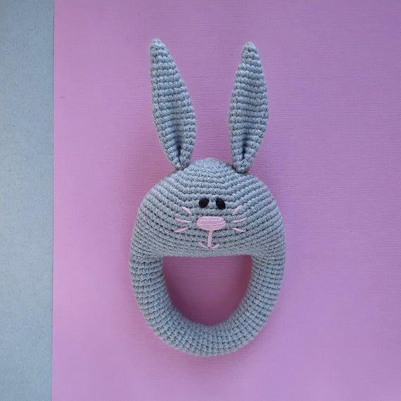 Crochet bunny rattle toy baby shower gift, toy for newborn baby crochet animal, nursery gift, easter