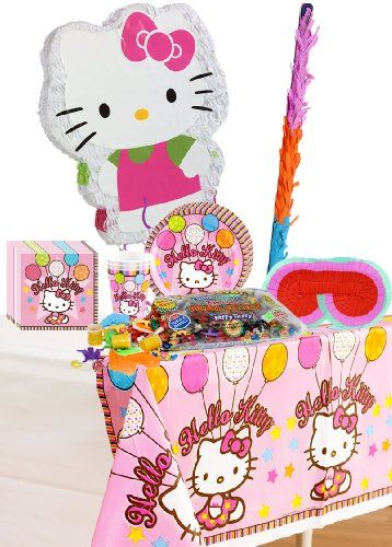 Hello Kitty Balloon Dreams Party Supplies Pinata Party Accessory Pack Including Plates, Cups, Napkins, blindfold, Tablecov...