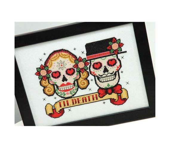Sugar Skulls Rockabilly Cross Stitch Pattern by tinymodernist