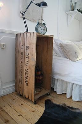 Bedside table. At least temporarily. Table de chevet upcycling détournement d'objets caisse en bois