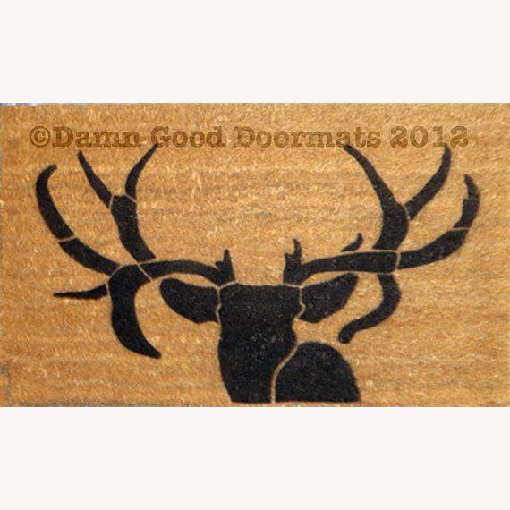 Prachtige herten hoofd silhouet deurmat-mijn manlief is gonna love zijn! Bekijk dat rack!  meer dierlijke thema matten in mijn winkel, klik