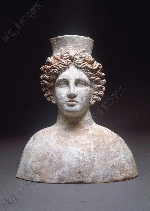 Phoenician civilization, 5th–4th century b. C. Bust of goddess Tanit, Hellenistic style. Ibiza, Museu Monogràfico De Puig Des Molins (Archaeological Museum)