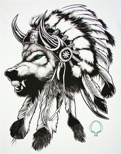 indian wolf tattoo - Buscar con Google