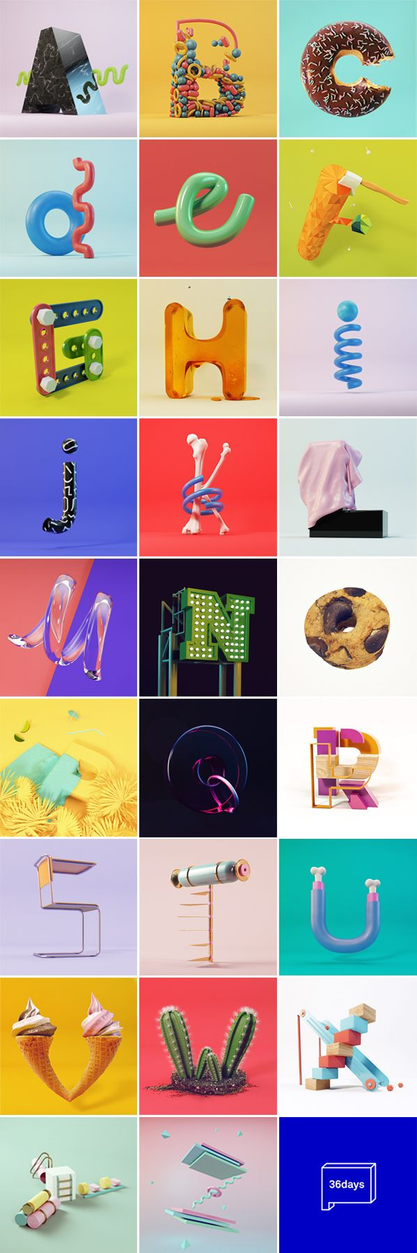 36daysoftype is a project that invites designers, illustrators and graphic artists to give their particular view on the signs from our alphabet.