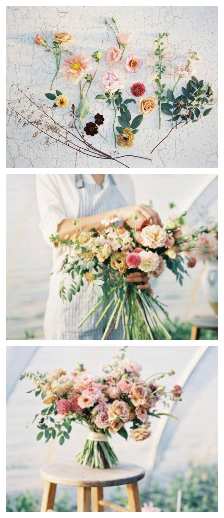 Erin Benzakein from Floret demonstrates how to create a DIY hand-tied bouquet utilizing garden favorites including dahlias, zinnias, heuchera, lisianthus, garden roses and foxglove.  Images by Heather Payne Photography.