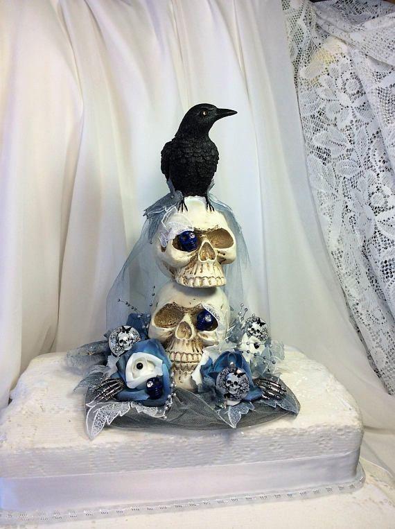 Skull Wedding Cake Top Decoration Skull Wedding Blue Black