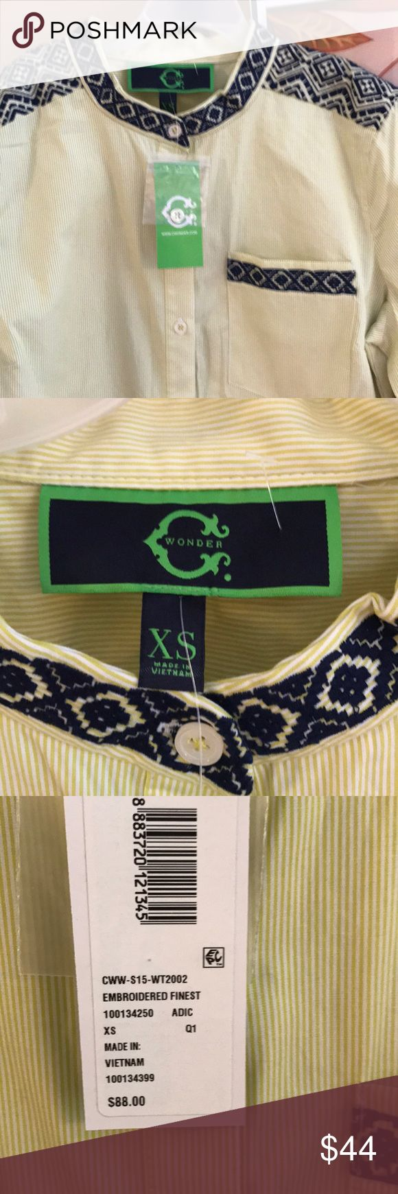 C Wonder Blouse Embroidered finest shirt by C Wonder.  Beautiful detail.  Green and white pin striped with navy blue embroidered detail. C Wonder Tops Button Down Shirts
