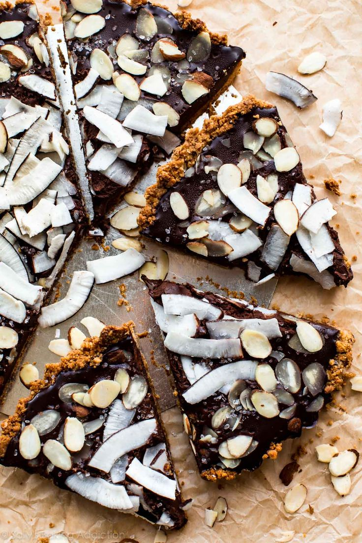 How to make a super simple 7 ingredient gluten free and vegan chocolate coconut almond tart. Tastes unbelievably rich and decadent!