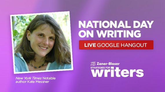 Celebrate National Day on Writing w/ Author Kate Messner  http://www.shakeuplearning.com/blog/celebrate-the-national-day-on-writing-and-hangout-with-author-kate-messner?utm_content=buffer5a851&utm_medium=social&utm_source=pinterest.com&utm_campaign=buffer #WhyIWrite WeAreTeachers #elemchat