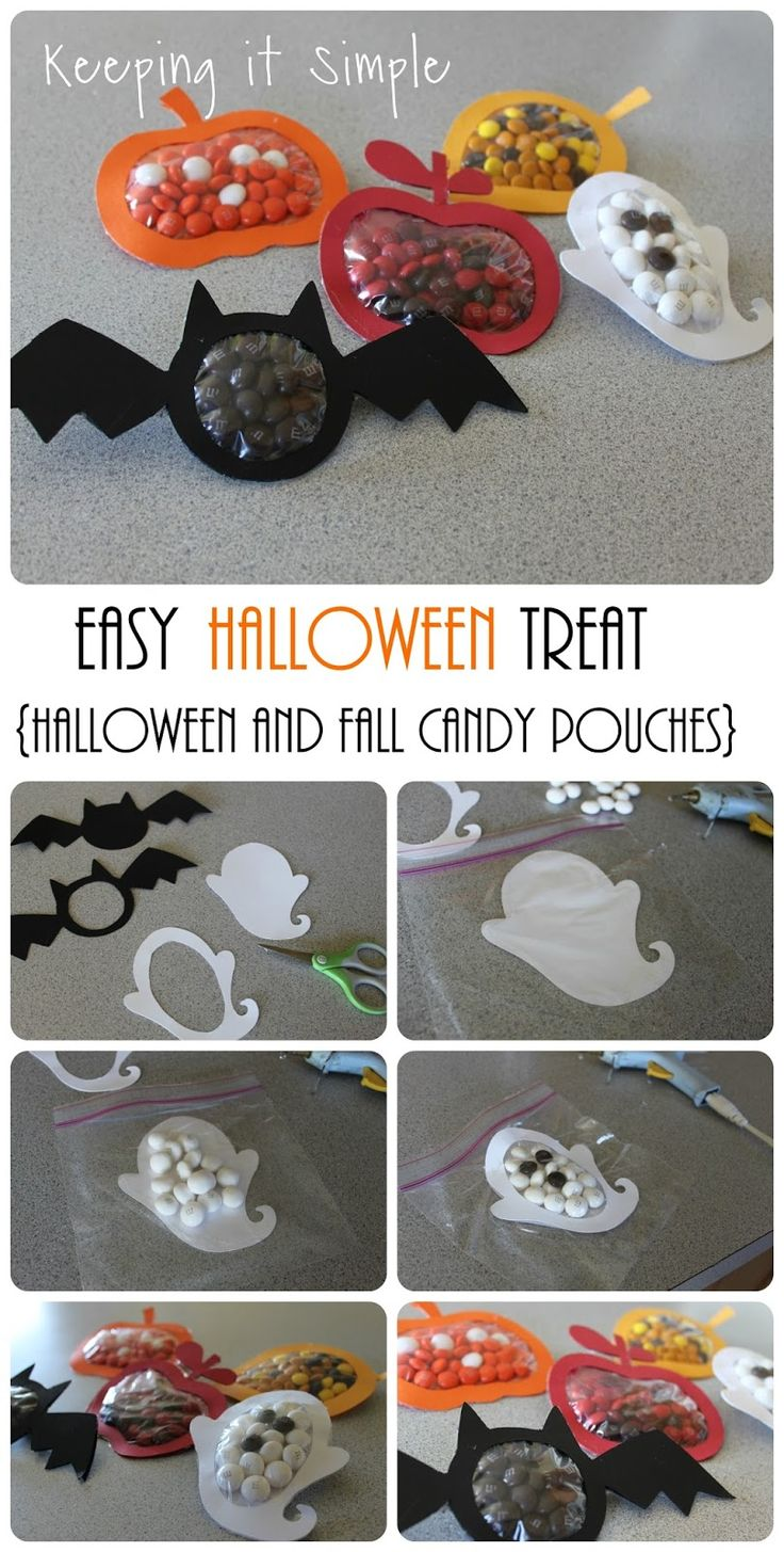Keeping it Simple: Halloween and Fall Candy Pouches Tutorial. Perfect treats for Halloween parties.