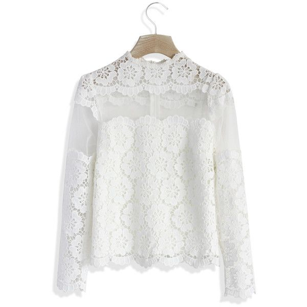 Chicwish Flower Dance Mesh Crochet White Top (€34) ❤ liked on Polyvore featuring tops, white, white tops, mesh top, crochet mesh top, macrame top and flower top
