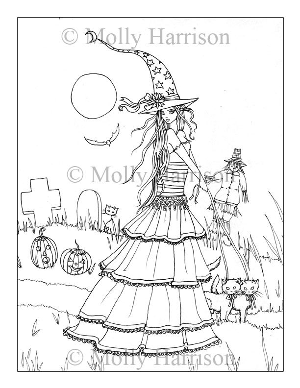 Coloring Witch Art By Molly Harrison