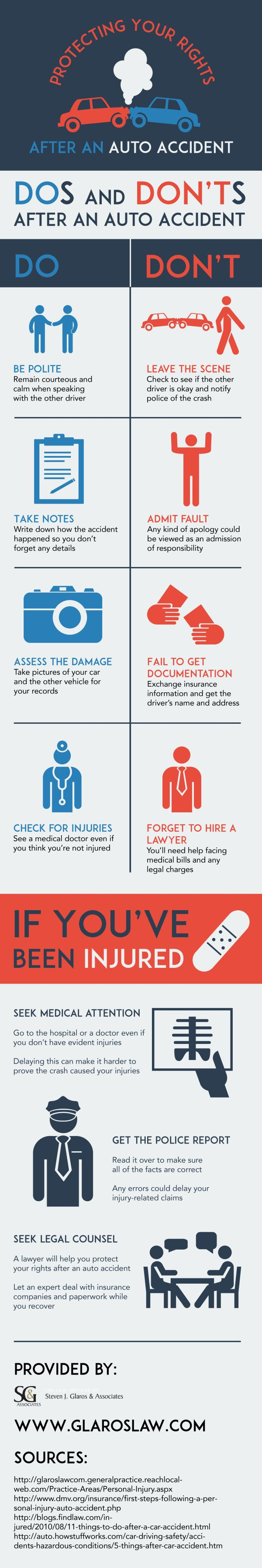 It is important to stay at the scene after an auto accident. Check for injuries, check to see if the other driver is okay, and notify police of the crash. View this Tampa Bay lawyer infographic to discover more steps to take after auto accidents.