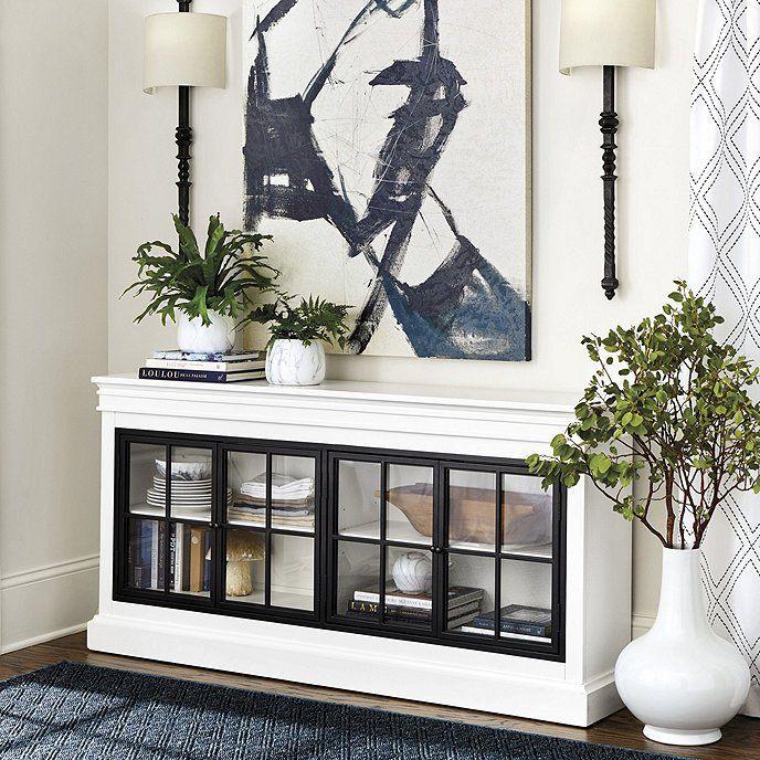 Delano Glass Door Console Ballard Designs Eisenturen Glasschiebetur Haus Dekor Console table with glass doors