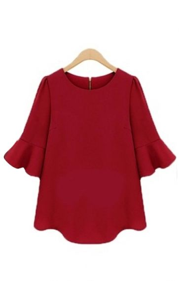 Red Three Quarter Sleeves Blouse