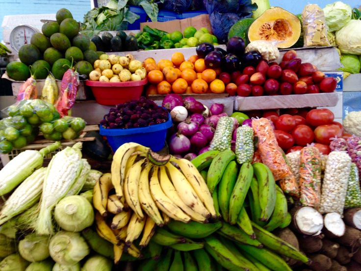Delicious colourful Caribbean fruit and vegetables on market stall in Basseterre, St Kitts