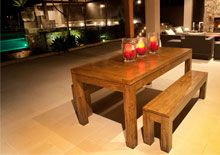 New York Dining Table and Benches. This set comes in a variety of sizes with Plain or Parquetry Table Tops. http://www.shack.com.au/contact-us