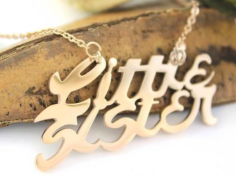 Little Sister Necklace Monogram Gold Tone Infinity Pendant Necklaces - TZARO Jewelry - 1