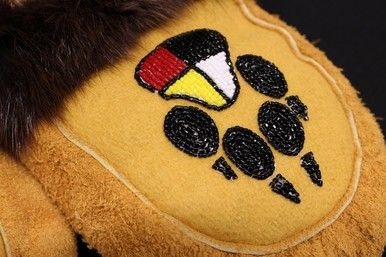 UNISEX MOOSE HIDE MOCCASINS WITH BEAVER FUR - FOUR DIRECTIONS BEAR PAW BEADWORK by Shirley Anne Bedwash