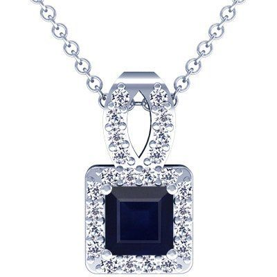 Platinum Princess Cut Blue Sapphire And Round Diamond Pendant GemsNY. $2249.00
