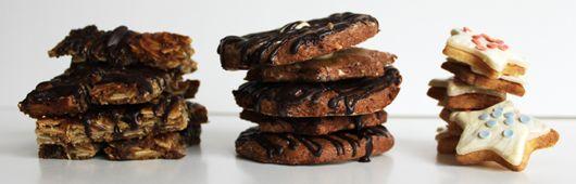 Mit Schokolade überzogene Mandelstangen, Omas leckere Oblaten-Lebkuchen und himmlisch gute Marzipansterne