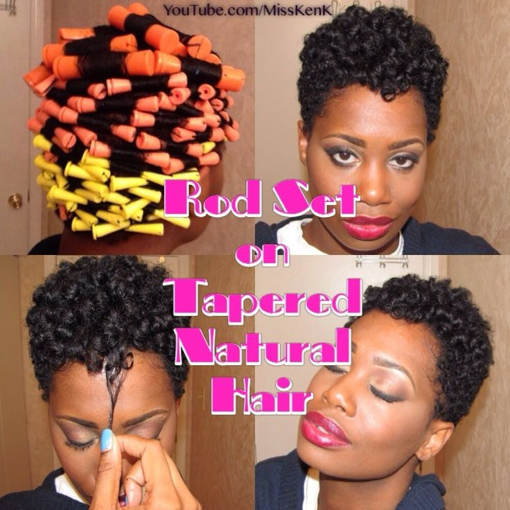 "Her hair is cute.. ""Heatless Rod Set on Tapered Natural Hair"""